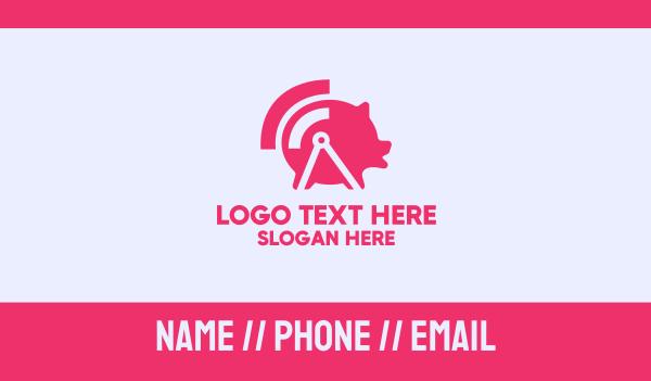wireless - Pink Wifi Pig Business card horizontal design