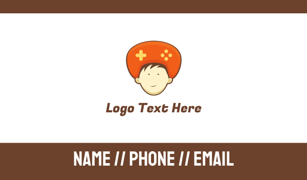 playstation - Orange Hat Controller Business card horizontal design