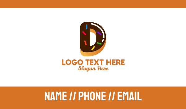 sprinkle - Donut Bakeshop Letter D Business card horizontal design