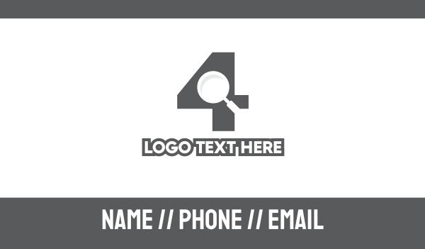 webpage - Number 4 Investigator Business card horizontal design