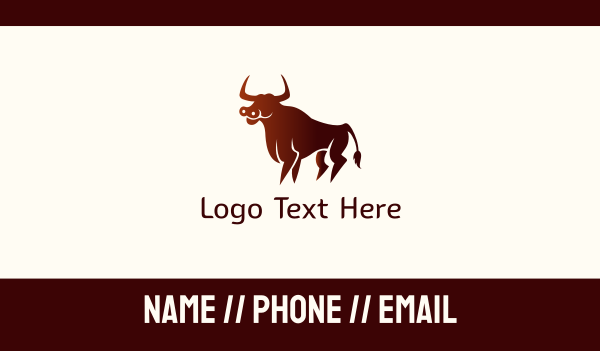 powerful - Wild Red Bull Business card horizontal design