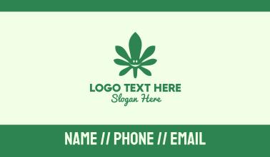 Green Cannabis Leaf Smiley Business Card