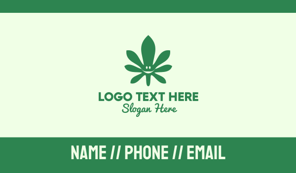 vice - Green Cannabis Leaf Smiley Business card horizontal design