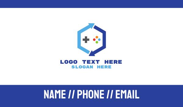 nintendo - Blue Hexagon Gaming Business card horizontal design