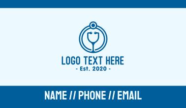 Blue Medical Stethoscope Business Card