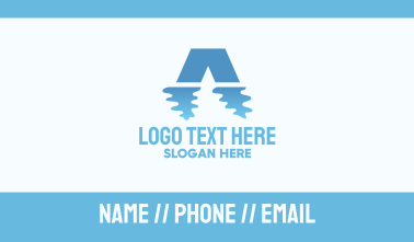 Water Reflection Letter A Business Card