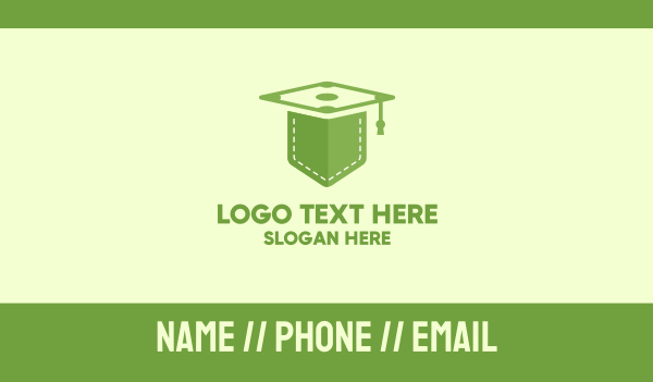 learn - Green Pocket Graduation Business card horizontal design