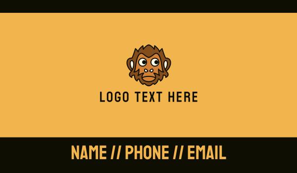 baboon - Brown Monkey Mascot Business card horizontal design