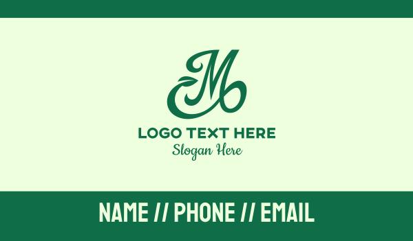 vines - Green Organic Letter M Business card horizontal design