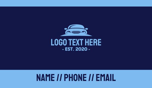 blue car - Blue Car Rental Business card horizontal design