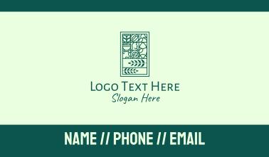 Green Organic Farm Emblem Business Card