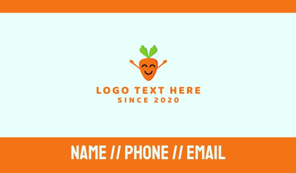 emoticon - Happy Carrot Business card horizontal design
