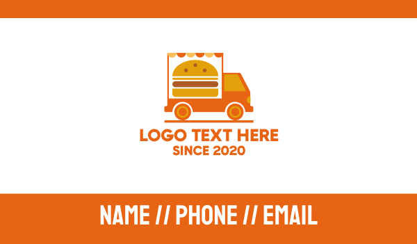 fast food - Burger Food Truck Business card horizontal design