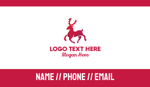antelope - Red Reindeer Business card horizontal design