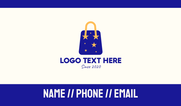 ecommerce - Starry Shopping Bag Business card horizontal design