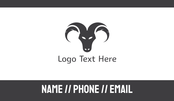 silhouette - Ram Face Business card horizontal design