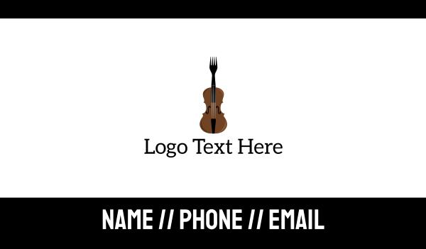 eating - Fork Violin Business card horizontal design