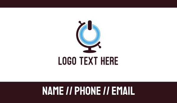 world map - Power Button Globe  Business card horizontal design