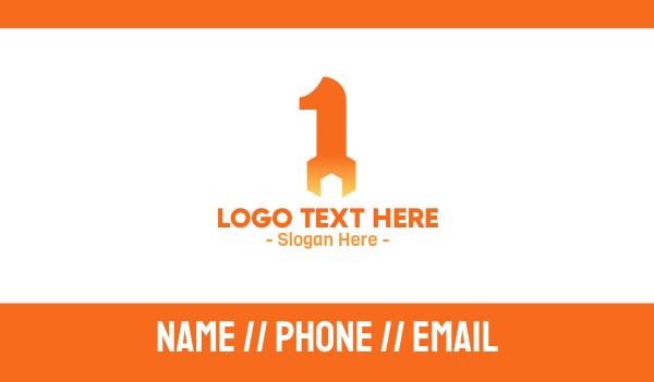 repairman - Orange Wrench Number 1 Business card horizontal design