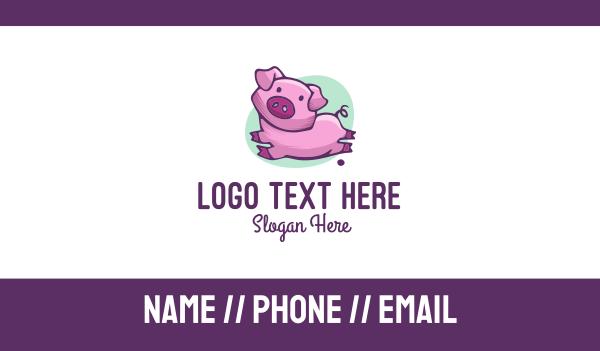 piggy - Cute Pink Pig Business card horizontal design