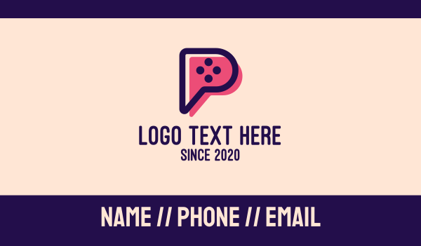 game controller - Video Game Letter P Business card horizontal design