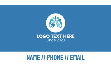 Blue Lung Circular Rings Business Card