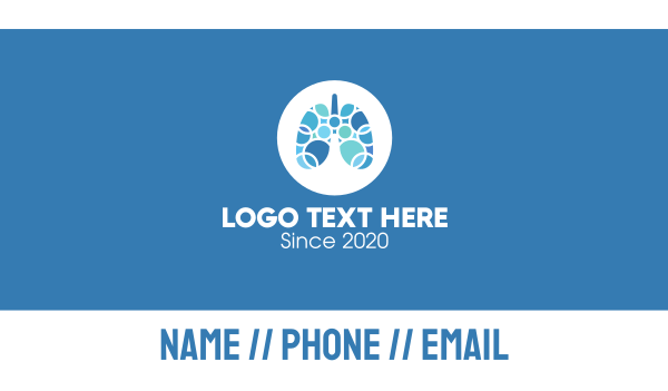 lung - Blue Lung Circular Rings Business card horizontal design