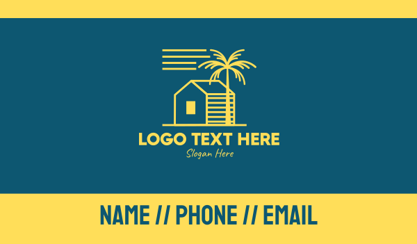 yellow tree - Simple Beach House Business card horizontal design