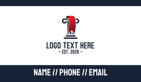 column - Greek Column Red  Ribbon Business card horizontal design