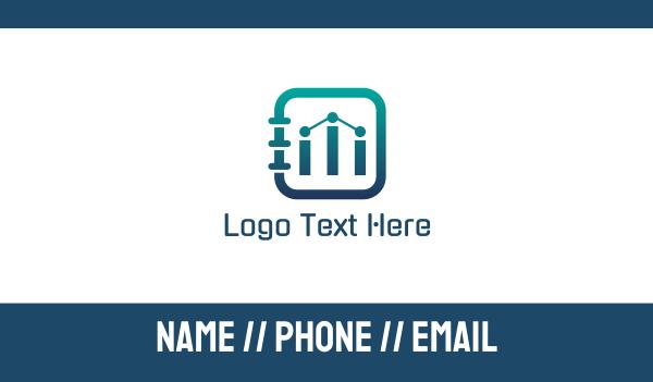 bar chart - Data Notes Business card horizontal design