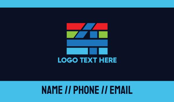 broadcasting - Colorful Stripe Number 4 Business card horizontal design