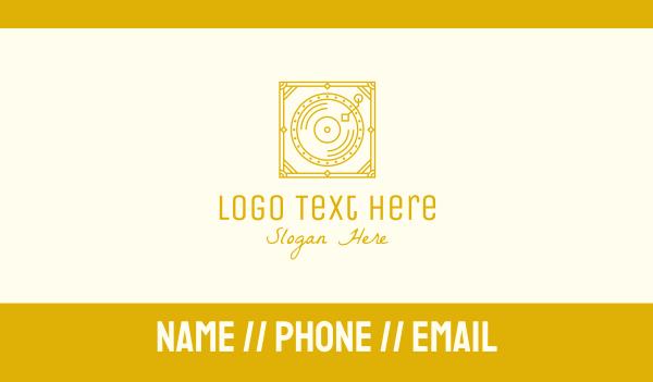 antique - Gold Retro Music Gramophone Business card horizontal design