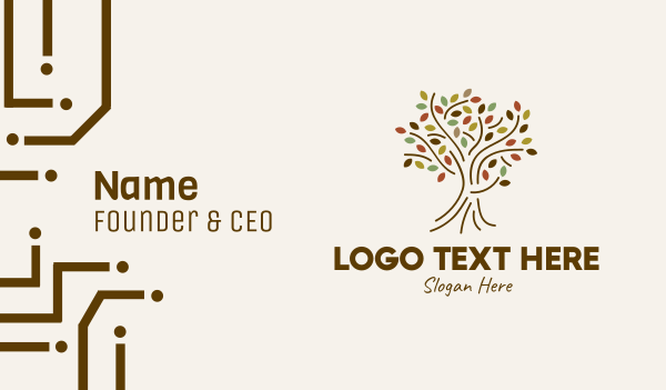 organic farm - Autumn Outline Tree Business card horizontal design