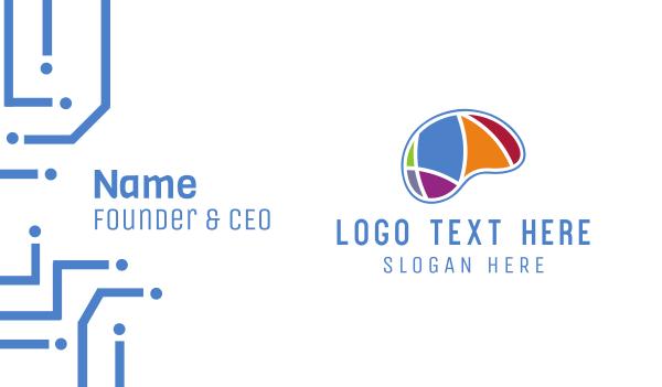 learn - Colorful Brain Business card horizontal design