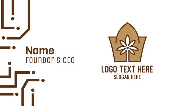 brown tree - Abstract Arabian Flower  Business card horizontal design