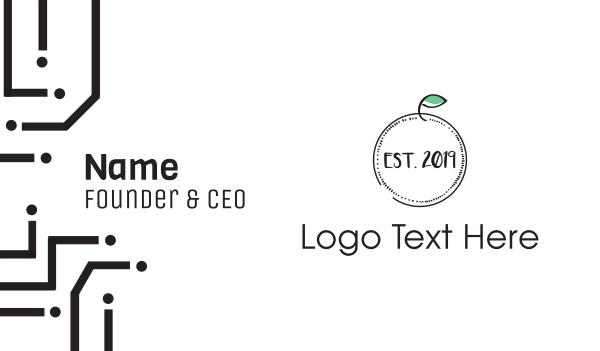 green circle - Minimalist Apple Business card horizontal design