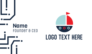 Cute Round Boat Business Card