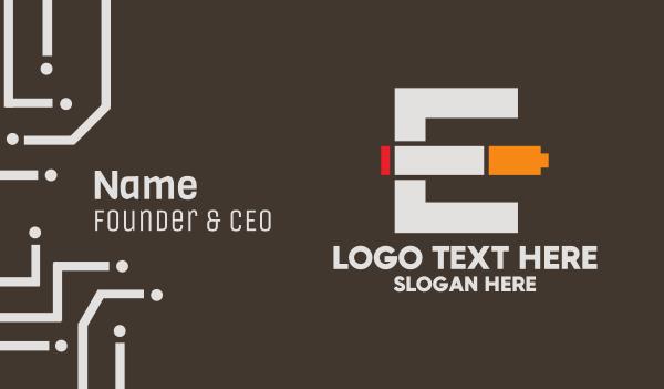 letter e - E-Cigarette Vape Pen Business card horizontal design
