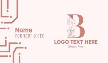 Elegant Leaves Letter B Business Card