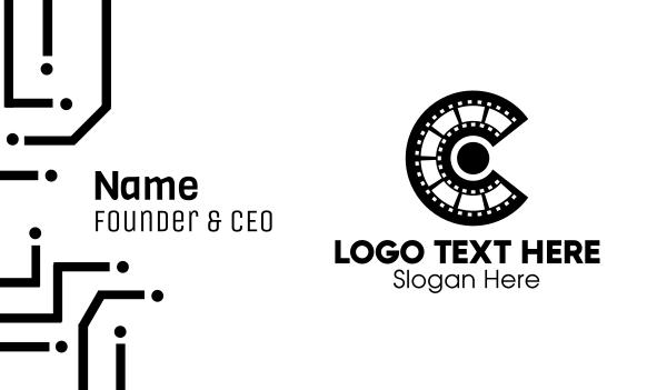 films - Film Strip Letter C  Business card horizontal design