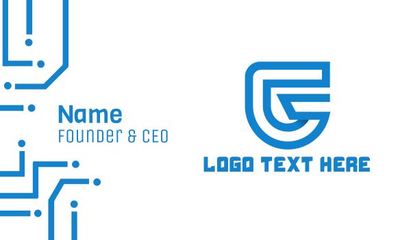 devices - Blue Letter G Business card horizontal design