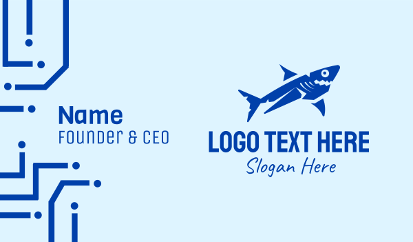 marine biology - Blue Marine Shark  Business card horizontal design