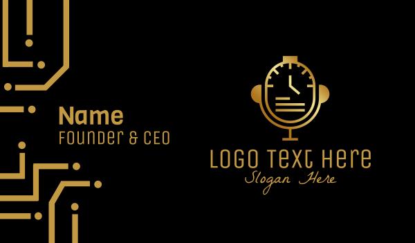 recording studio - Gold Watch Microphone Business card horizontal design