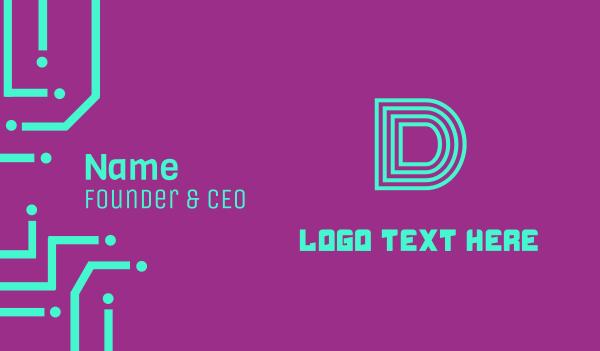 broadway - Neon Blue Letter D Business card horizontal design