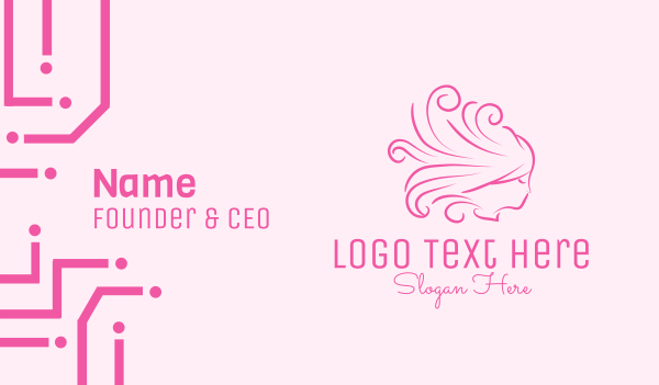 hair extensions - Pink Feminine Hairdresser Business card horizontal design
