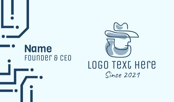 headdress -  Blue Cowboy Detective Business card horizontal design