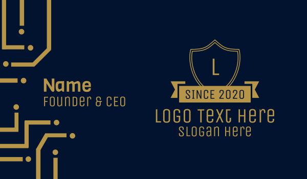 denim - Elegant Gold Banner Lettermark Business card horizontal design