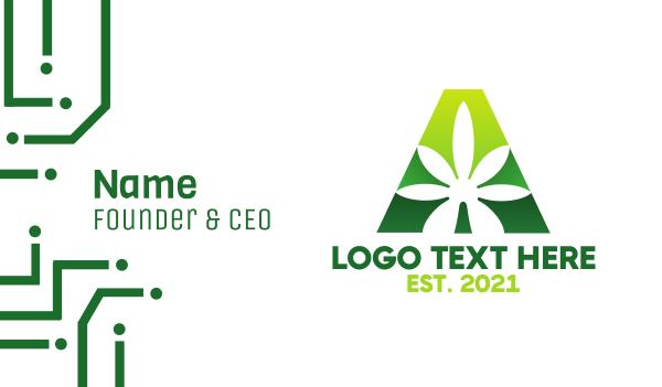 oil - Green Marijuana A Business card horizontal design