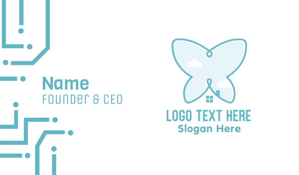 town - Butterfly House Business card horizontal design