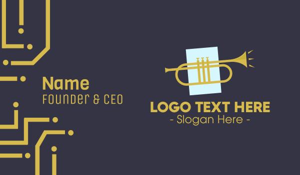 trumpet - Golden Jazz Trumpet Business card horizontal design